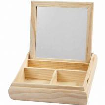 Mirror box with compartments, fold down lid